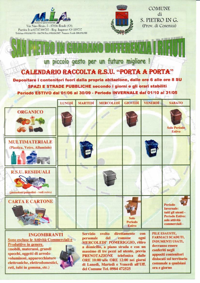 Raccolta Differenziata Cosenza Calendario 2019.Calendario Invernale Raccolta Differenziata